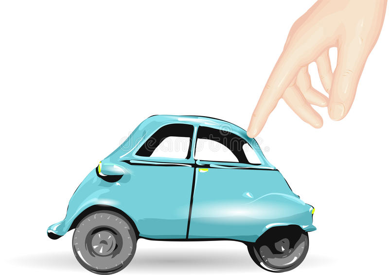 Toy car and human hand. In white background vector illustration