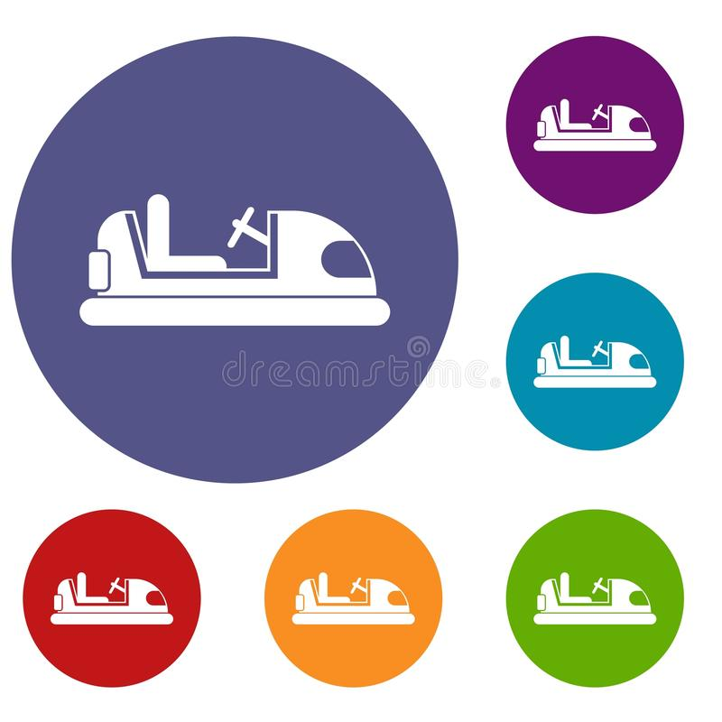 Toy car icons set. In flat circle reb, blue and green color for web royalty free illustration
