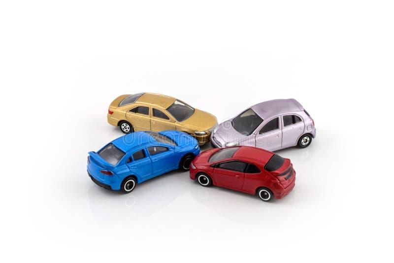 Toy car model, car crash. Toy car model on white background stock images