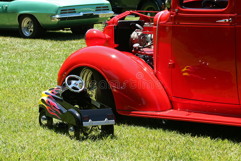 Toy Car Next to Classic stock photos