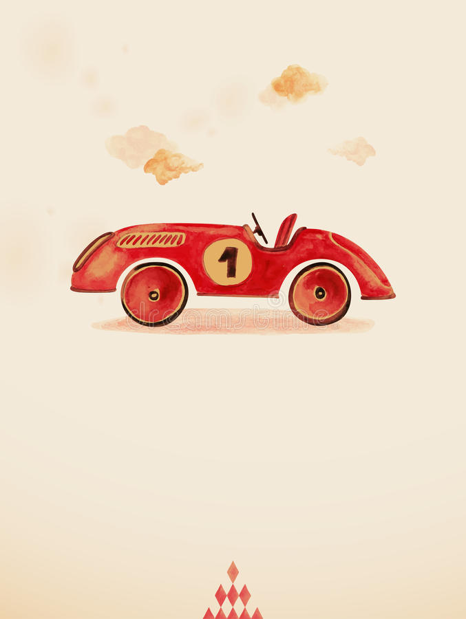 Toy car. Object. Watercolor drawing royalty free illustration