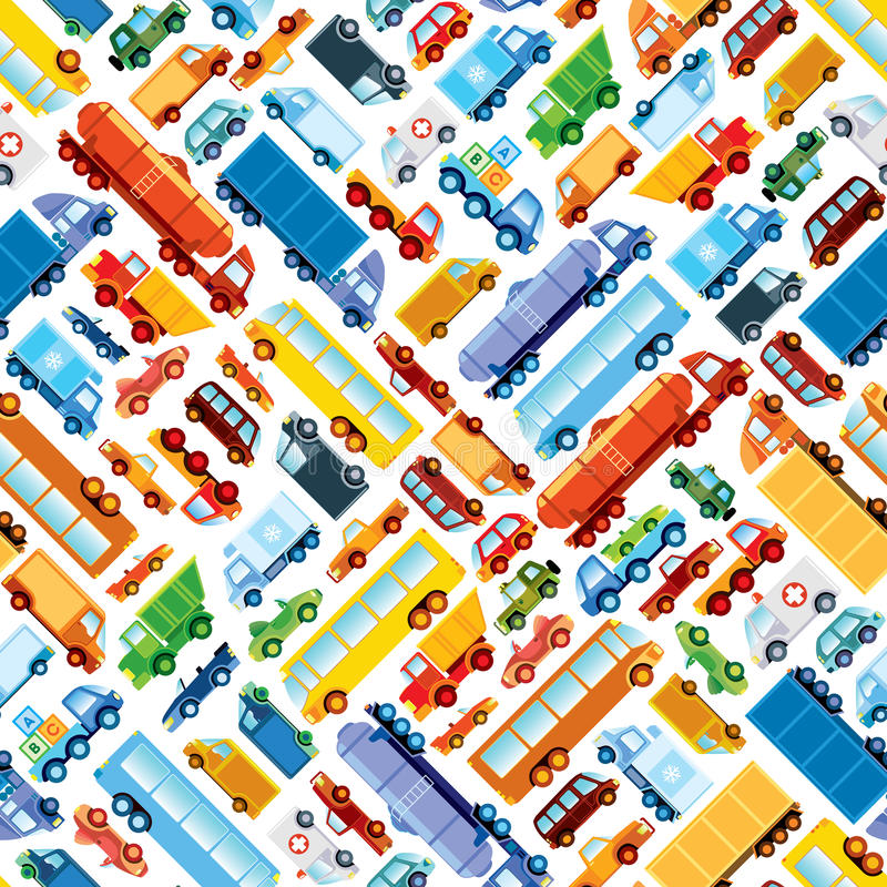 Toy car pattern. Collection of various funny toy cars stock illustration