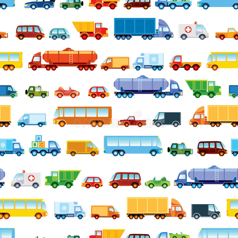 Toy car pattern. Collection of various funny toy cars vector illustration
