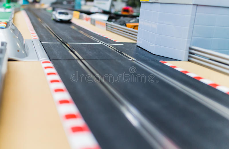 Toy car racetrack. Detail of toy car racetrack stock photography