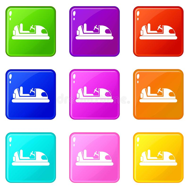 Toy car set 9. Toy car icons of 9 color set isolated vector illustration royalty free illustration