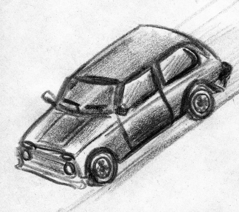 Toy car sketch. Hand drawn pencil sketch of a toy car moving royalty free illustration