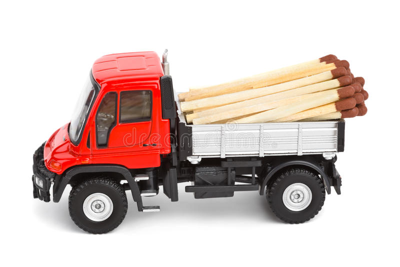 Toy car truck with match. Isolated on white background stock photo