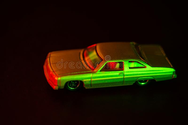 Toy car under red and green light royalty free stock photos