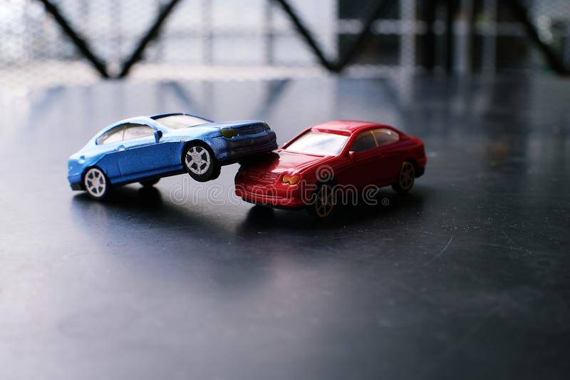 Toy Cars Crash Accident. Simulation Red And Blue Car Stock Photo ...