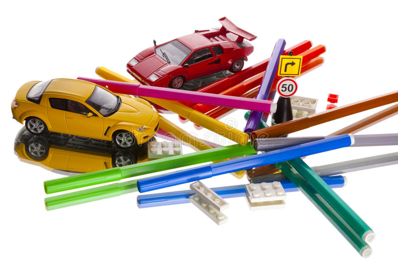 Toy Cars Markers Mess Stock Photos