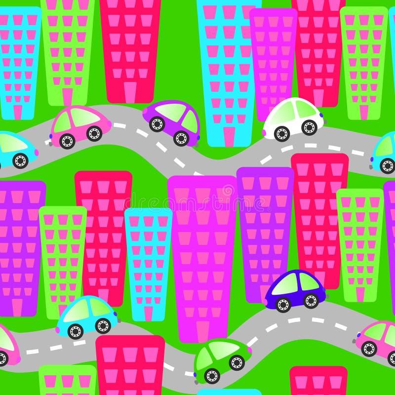 Toy Cars sur le fond sans couture de routes illustration stock