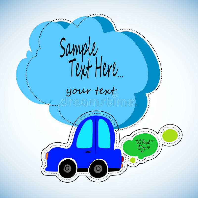 Toy cars white outline on a blue background. royalty free illustration