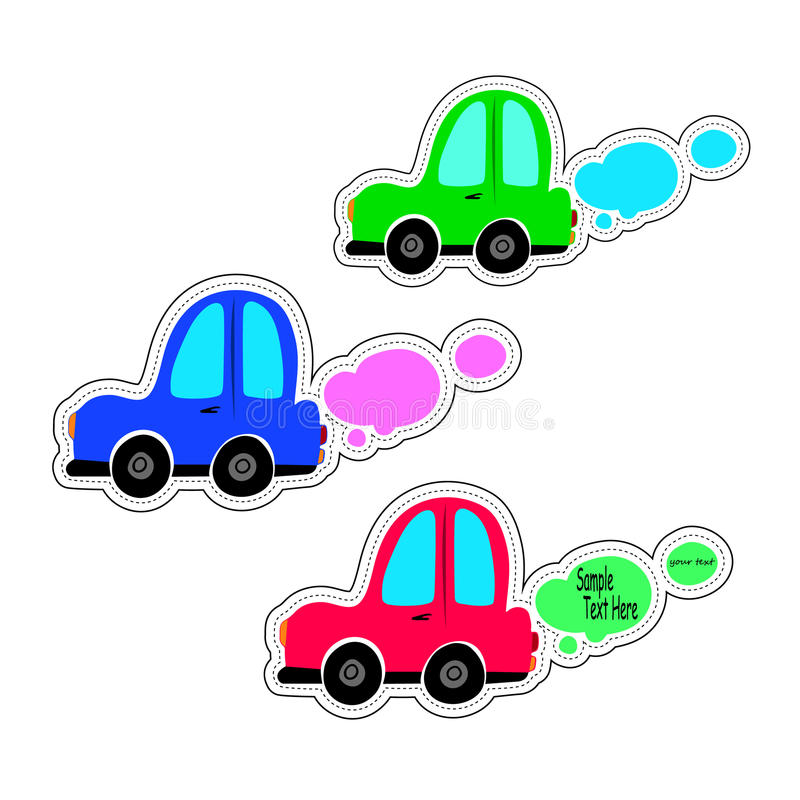 Toy cars white outline on a blue background. Vehicles travel. Sticker for children on the theme of the machine. Vector illustratio royalty free illustration