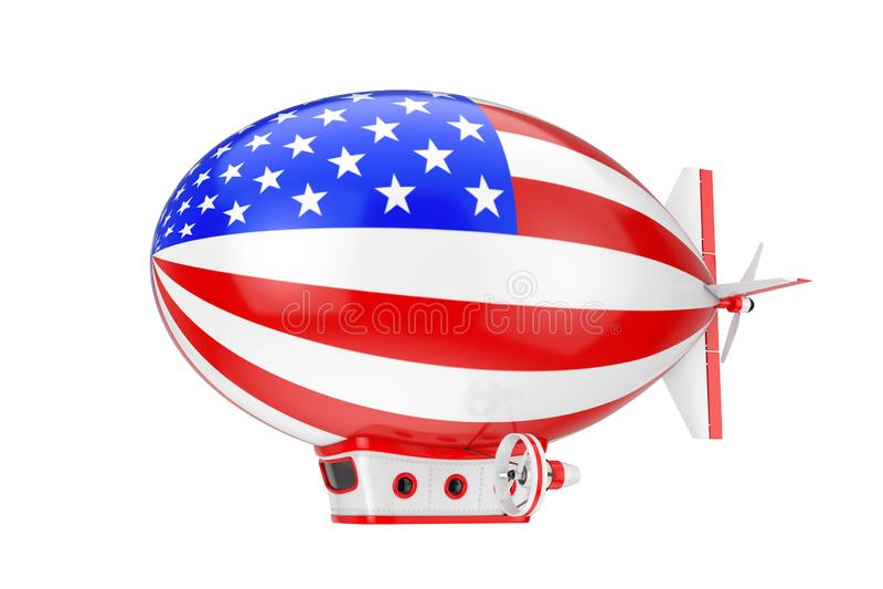 Toy Cartoon Airship Dirigible Balloon avec le drapeau des Etats-Unis rendu 3d photo libre de droits
