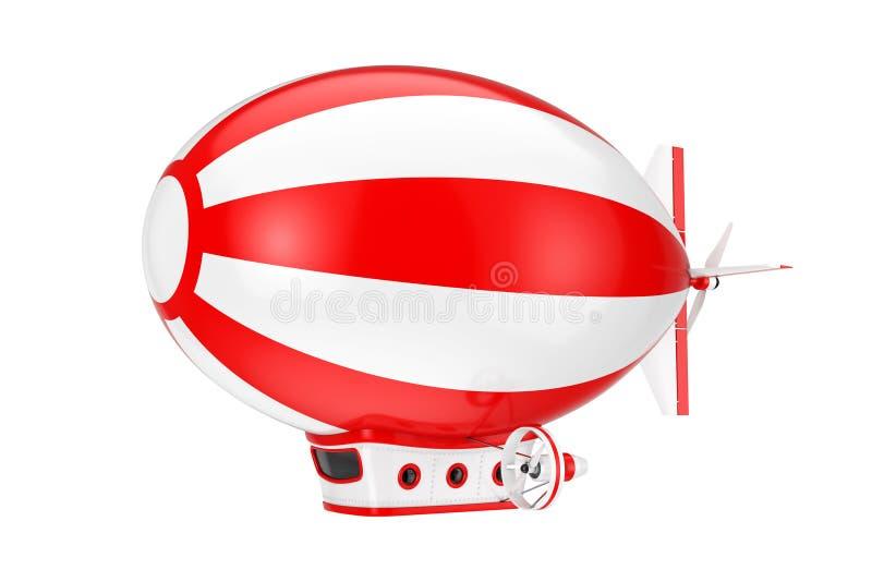 Toy Cartoon Airship Dirigible Balloon rosso e bianco rappresentazione 3d illustrazione di stock