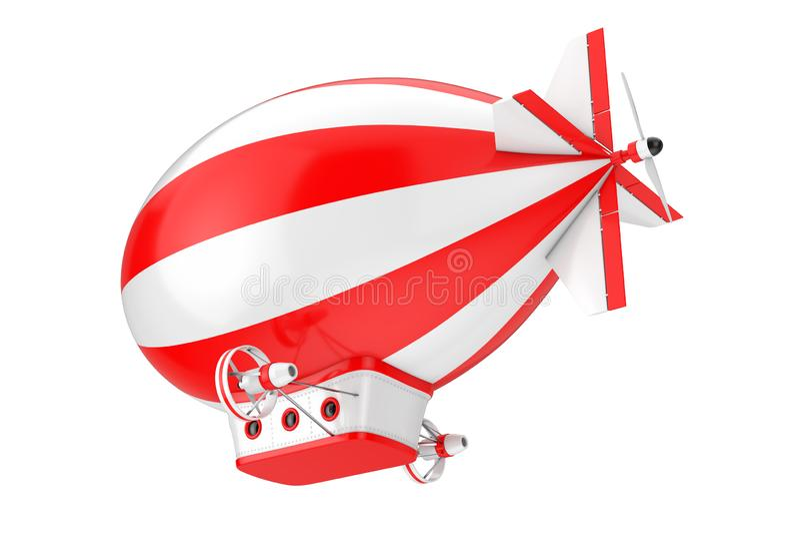 Toy Cartoon Airship Dirigible Balloon rouge et blanc rendu 3d photographie stock