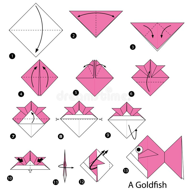 Step by step instructions how to make origami A Goldfish. Toy cartoon cute paper steps origami art animal stock illustration