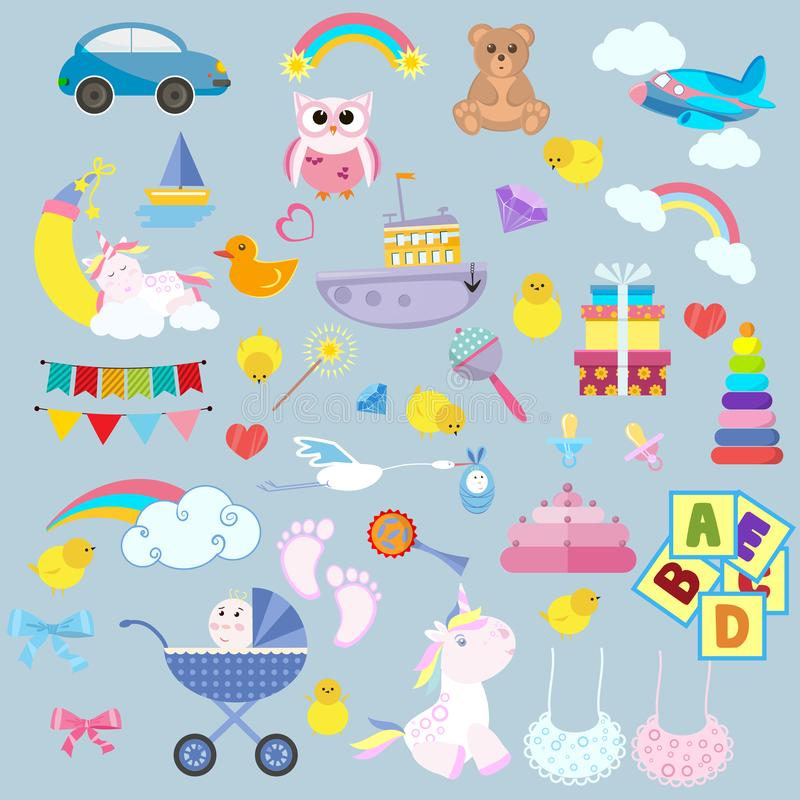 Toy cartoon kids baby. Child game childrens feet play childhood bear colorful vector illustration set kid. Collection baby carriage flat car tiny baby unicorn royalty free illustration