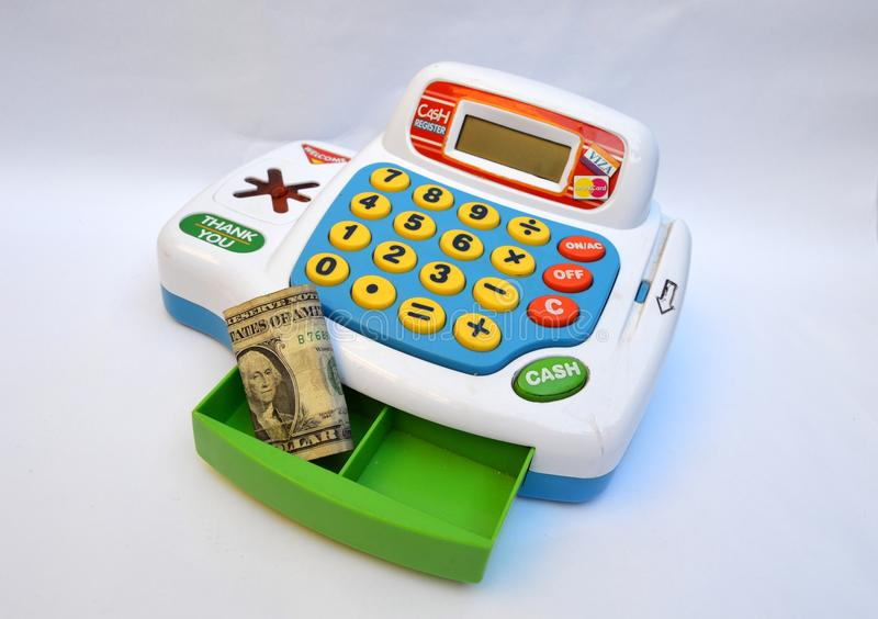 Toy cash register machine stock photo