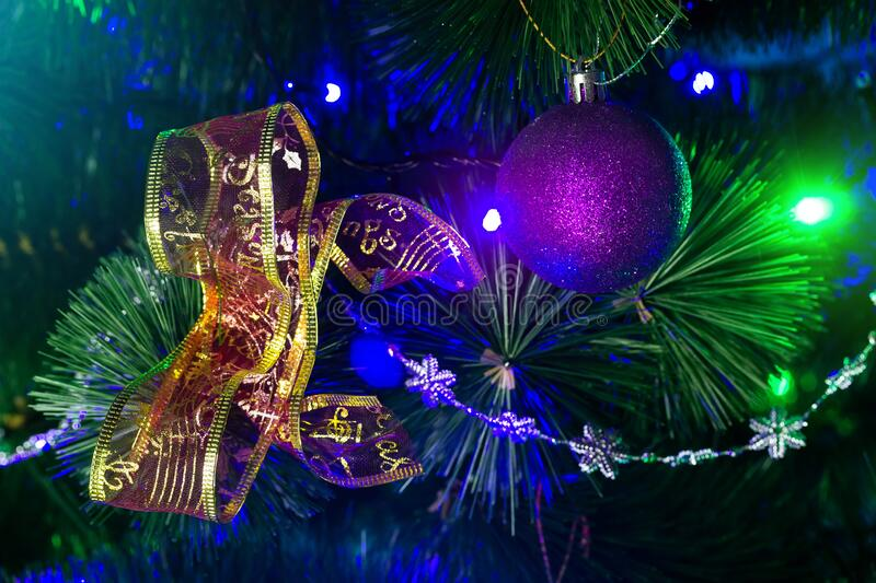 Toy on a Christmas tree. / new year mood background photo stock photos
