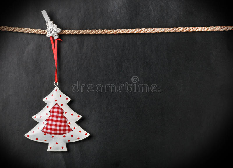 Toy Christmas tree and place for text royalty free stock image