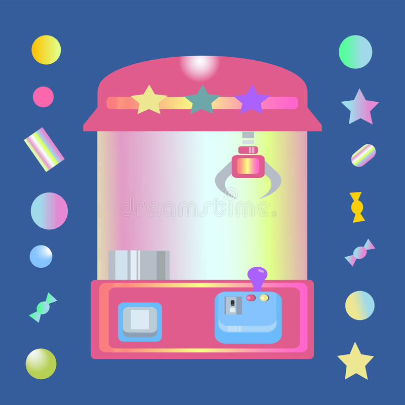 Toy claw machine with sweets. And candy balls on dark blue background. claw crane game.retro 90s style.vector stock illustration