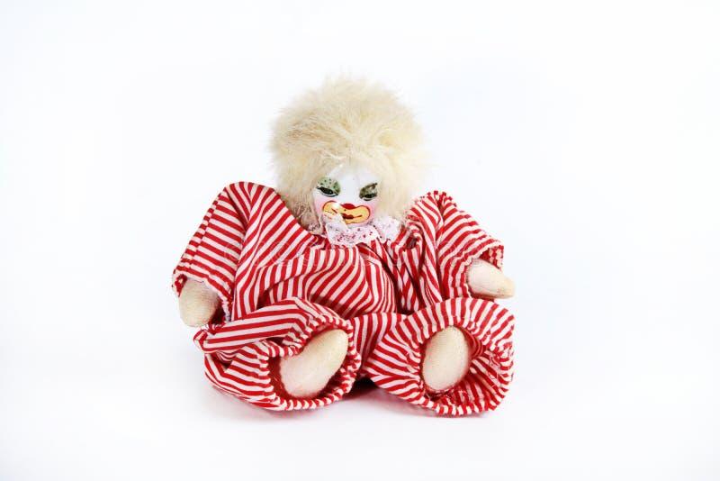 Toy Clown på vit bakgrund royaltyfri fotografi