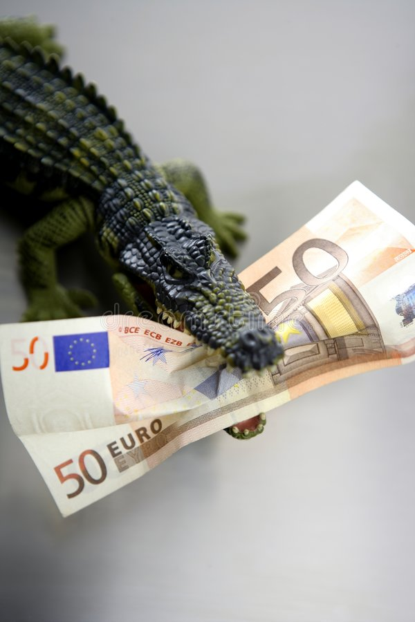 Toy Cocodrile, Aligator, With Fifty Euro Banknote Royalty Free Stock Photography