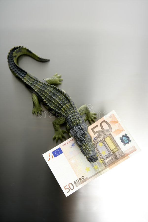 Toy Cocodrile, Aligator, With Fifty Euro Banknote Royalty Free Stock Images