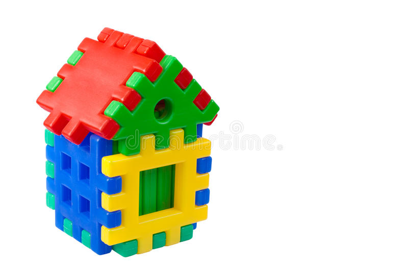 Toy colored house. On a white background with space for text royalty free stock image