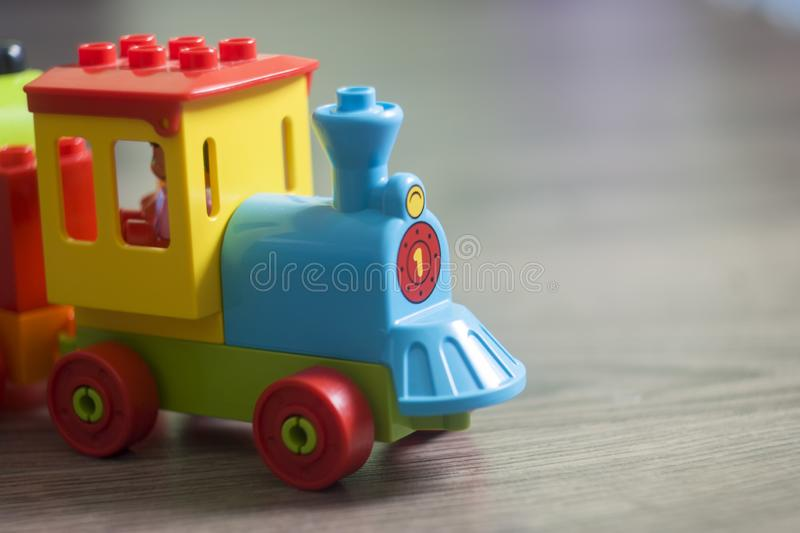 Toy Colorful Lego Train stockfotos