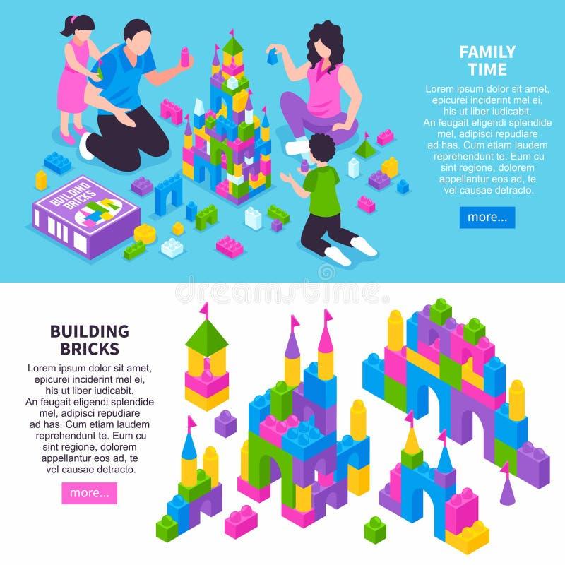 Toy Constructor Isometric Banners royaltyfri illustrationer