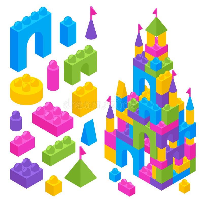 Toy Constructor Isometric Blocks royaltyfri illustrationer