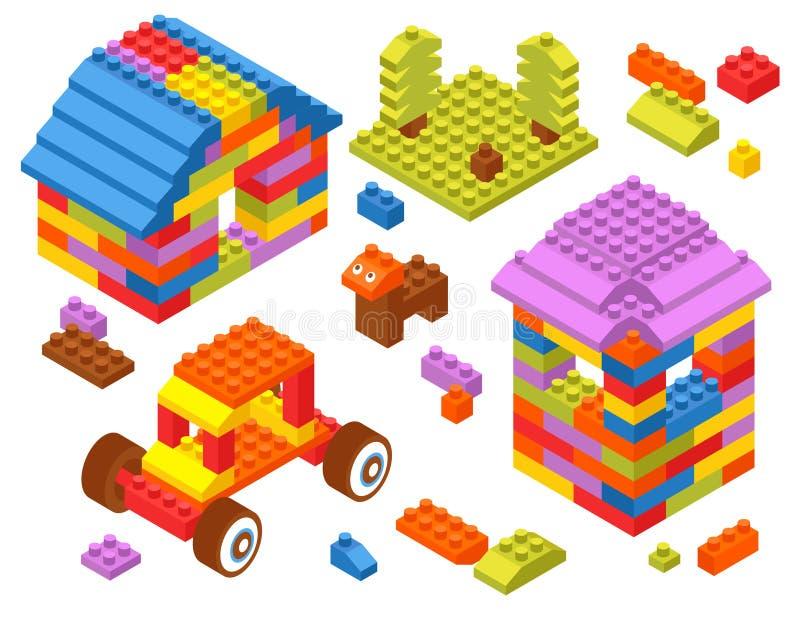 Toy Constructor Isometric Blocks vektor illustrationer