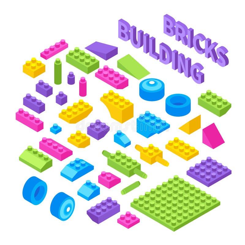 Toy Constructor Isometric Blocks stock illustrationer