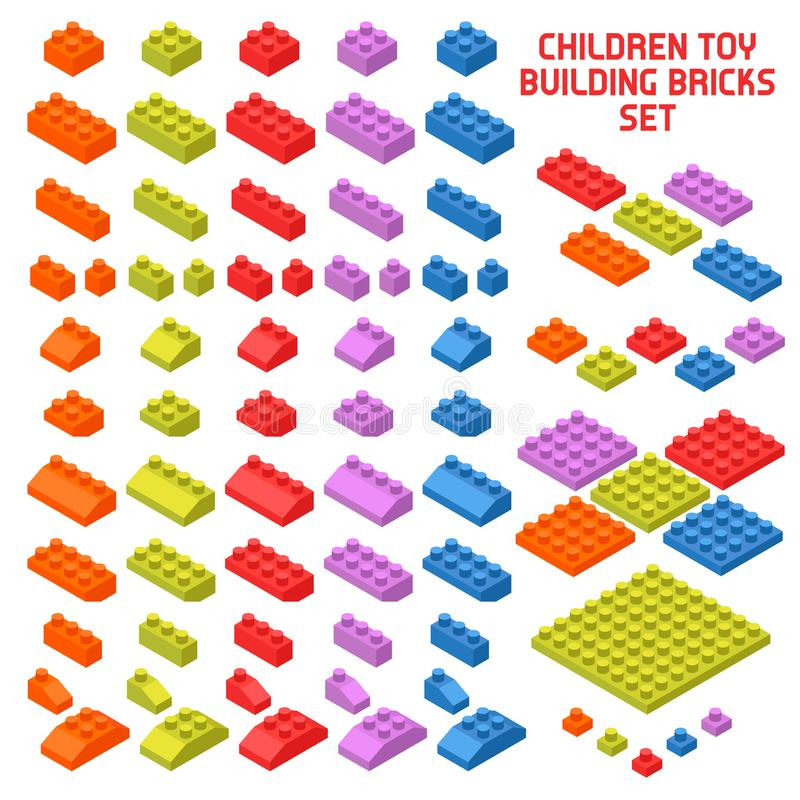 Toy Constructor Isometric Pieces stock illustrationer