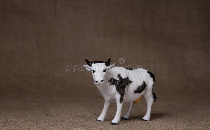 Download Toy Cow On Hessian (burlap) Cloth Stock Image - Image: 16272871