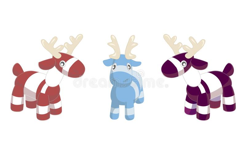 Toy deers illustration on white background. Christmas tree decoration with holly. Lovely simple children s toy. Merry Chris. Tmas and Happy New Year style stock illustration