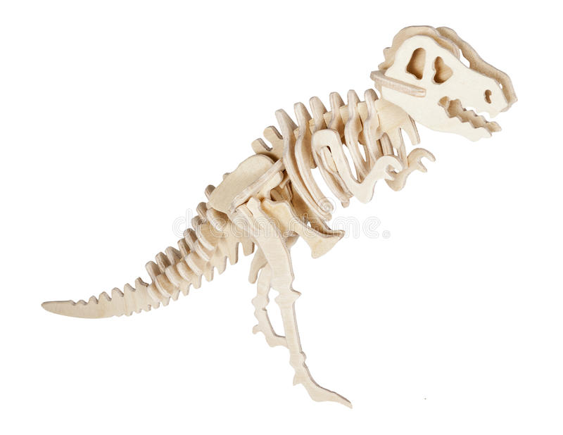 Toy dinosaur skeleton. Isolated on white background stock photography