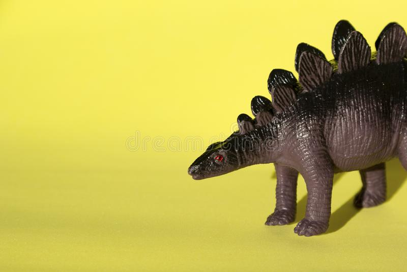 Toy dinosaur Stegosauro su fondo giallo, primo piano fotografie stock