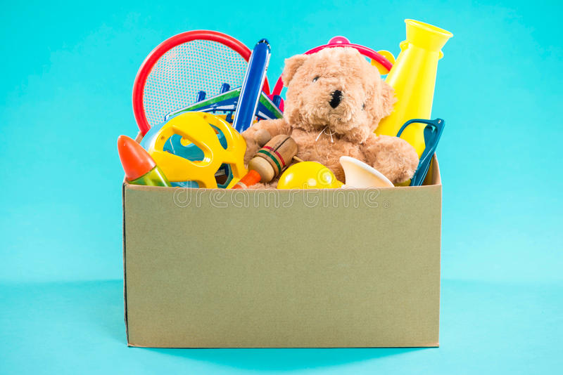 Toy. Donation box with unwanted items for poor.  royalty free stock photos