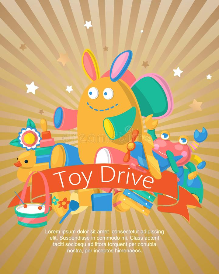 Toy drive set for babies poster, card vector illustration. Cute objects for small children to play with, wooden and. Plastic toys, animals such as duck, rabbit royalty free illustration