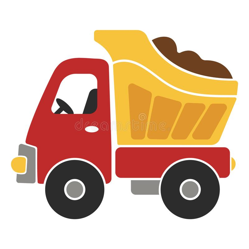 Toy Dump Truck Cartoon Vector Illustration for kids royalty free illustration