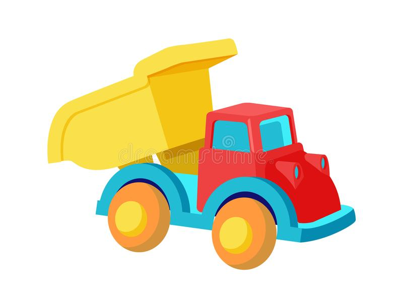 Toy Dump Truck Plastic Car in Bright Colors Vector royalty free illustration
