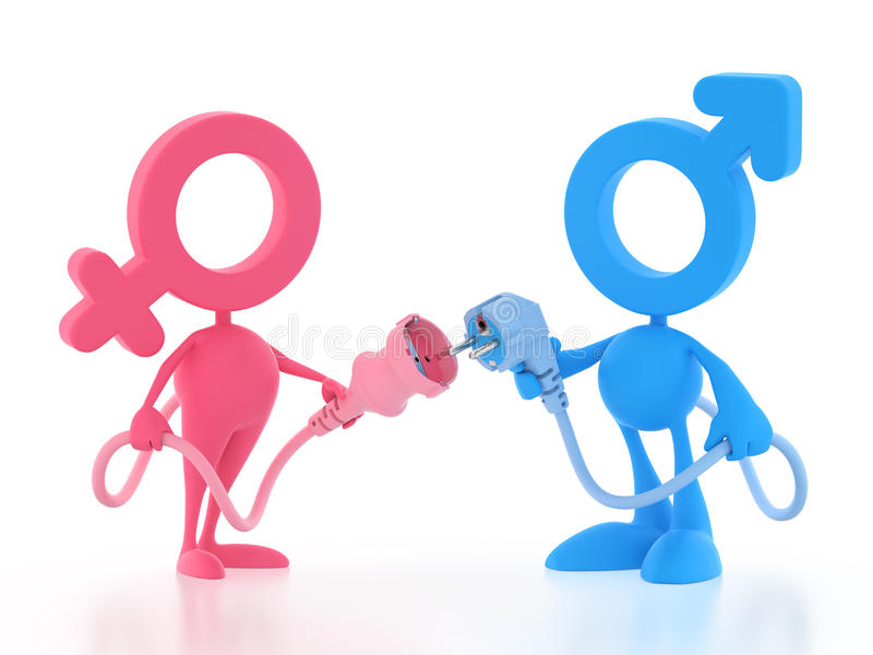 Toy Electric Sex. Male and female cartoon couple connecting to each other by electric plugs. 3D rendered image on white background vector illustration