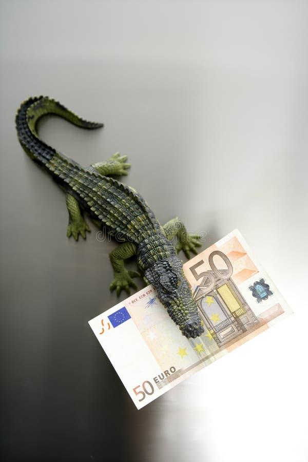 toy för euro femtio för aligatorsedel cocodrile royaltyfria bilder