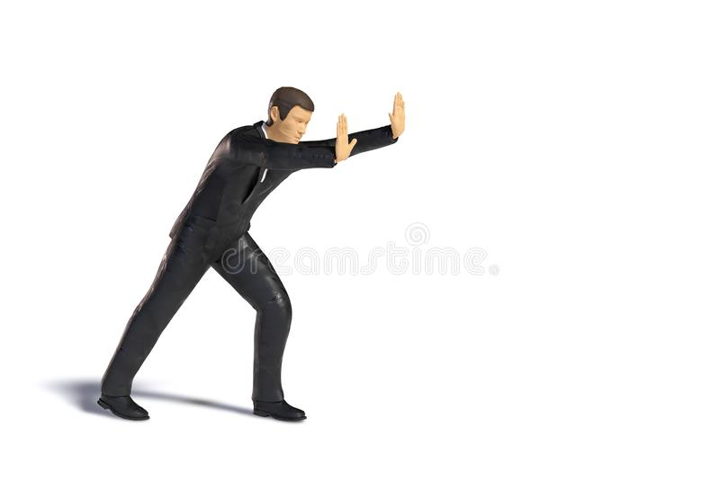 Toy miniature businessman pushing, business figurine concept isolated with shadow on white background royalty free illustration