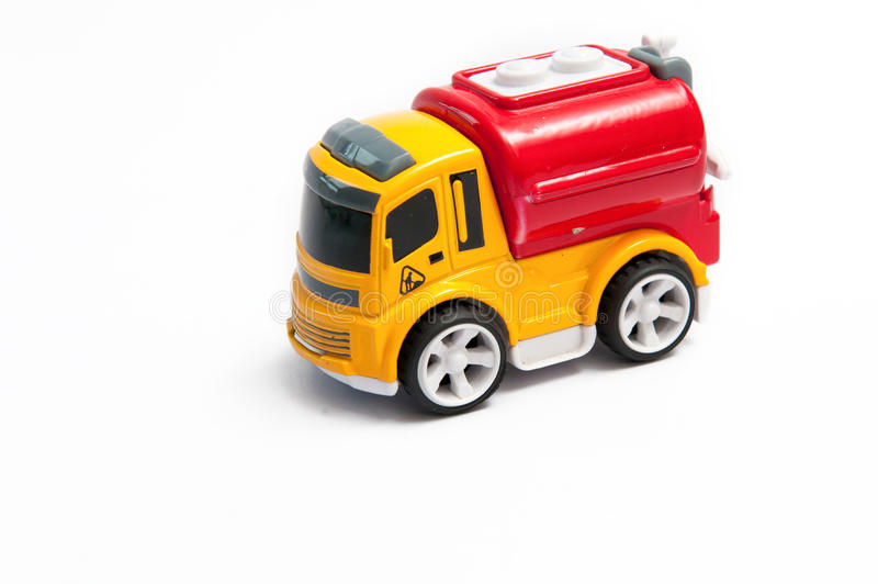 Toy fire truck. On a white background stock images