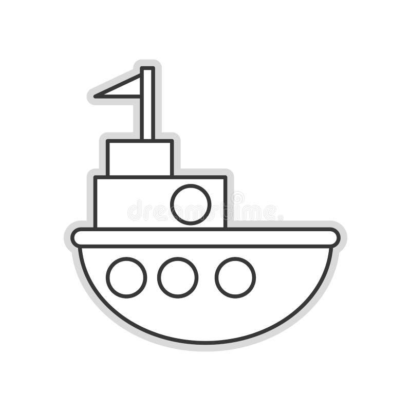 Toy fishing boat icon. Flat design black line little fishing boat toy illustration stock illustration
