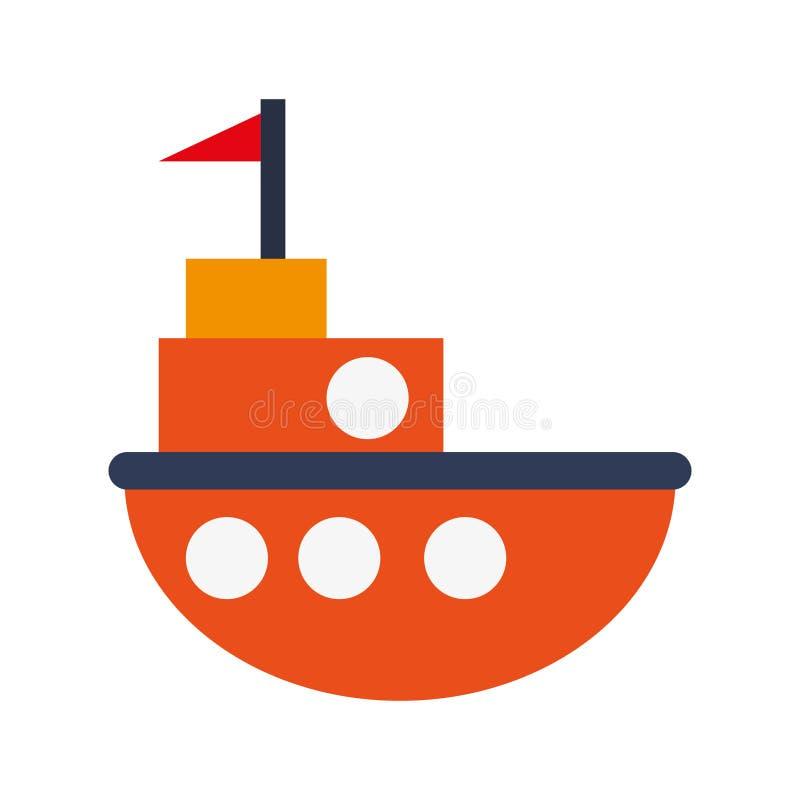 Toy fishing boat icon. Flat design orange little fishing boat toy illustration stock illustration